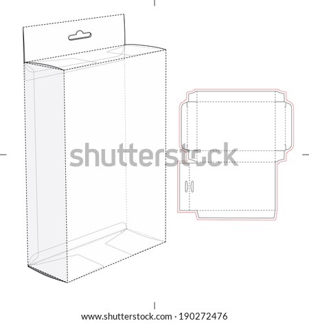 Shelf Box with Die Cut Layout - stock vector
