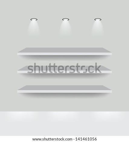 shelf for exhibit. Vector illustration. - stock vector