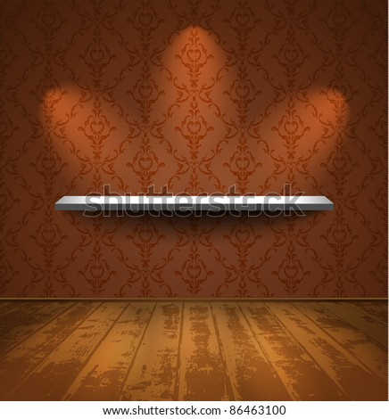 Shelf on a wall with wallpaper in room with wooden floor - stock vector