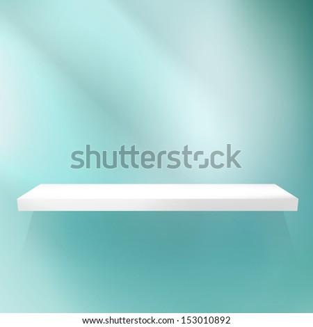 Shelf on blue for exhibition. EPS 10 - stock vector