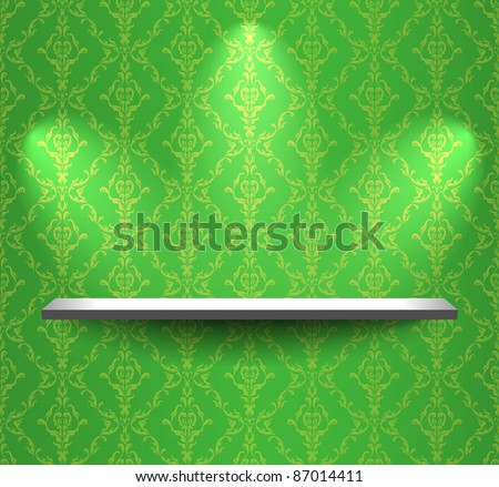 Shelf on the wall with green wallpaper - stock vector