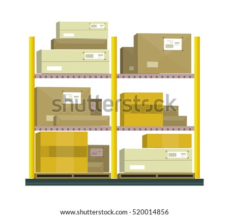 Shelf with cartoon box. Shelving paper, warehouse storage, cardboard container, cargo illustration in flat