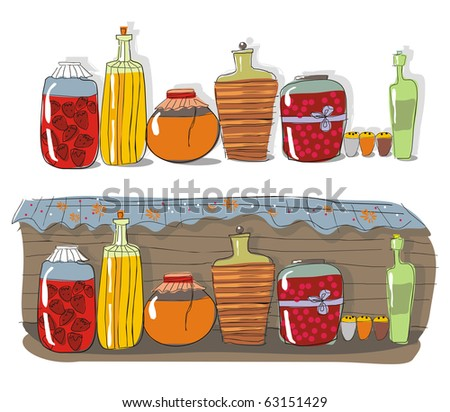 Shelf with homemade jam and spices - stock vector