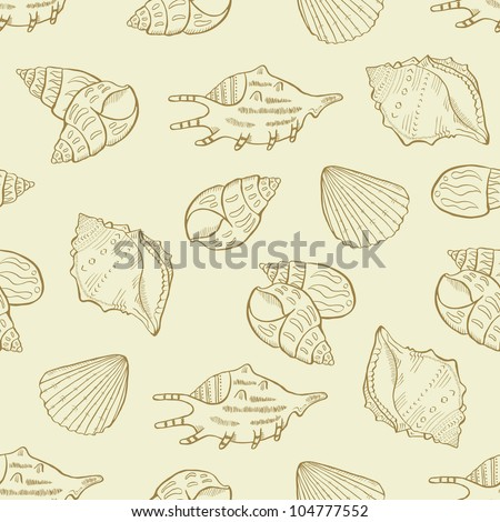 shell seamless pattern - stock vector