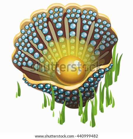 Shell with a Golden pearl inlaid with precious stones. Vector illustration. - stock vector