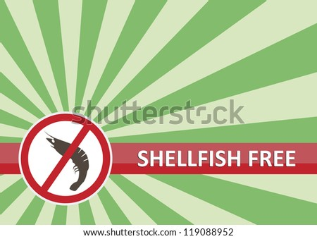 Shellfish free banner for food allergy concept