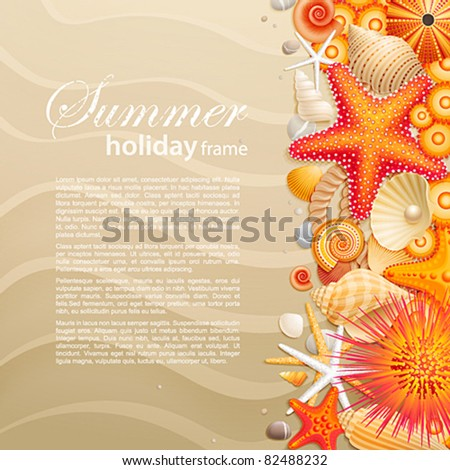 Shells and starfishes on sand background with place for text. Vector illustration.
