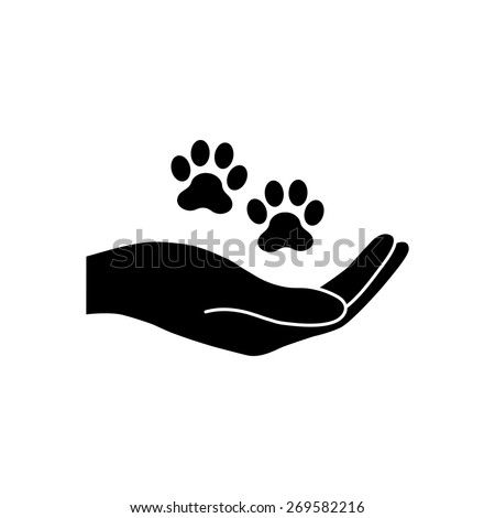 Shelter pets sign icon. Hand holds paw symbol. Animal protection.  - stock vector