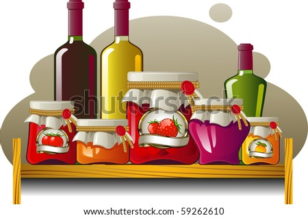 Shelves of bottles and cans - stock vector