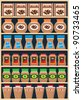 Shelves with coffee banks.  vector, color full, no gradient - stock vector