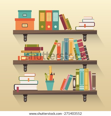 Shelves with colorful books in flat design style. - stock vector
