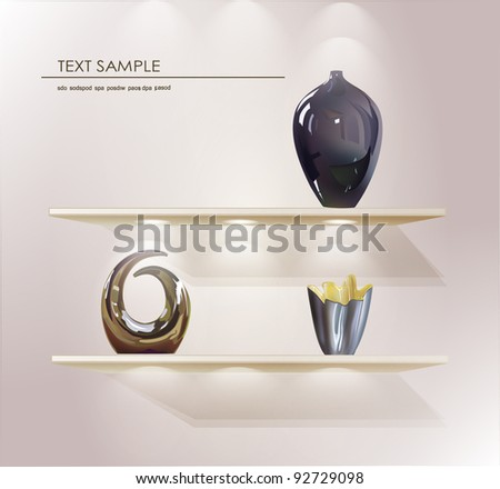 shelves with light from the top and vases (objects) for promotion - stock vector