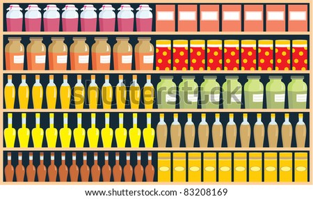 Shelves with products. vector, color full, no gradient - stock vector