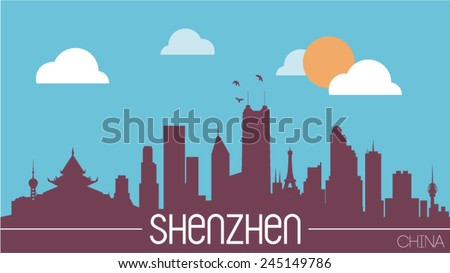 Shenzhen China skyline silhouette flat design vector illustration - stock vector