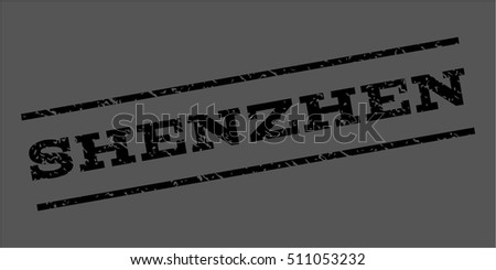 Shenzhen watermark stamp. Text tag between parallel lines with grunge design style. Rubber seal stamp with dirty texture. Vector black color ink imprint on a gray background.