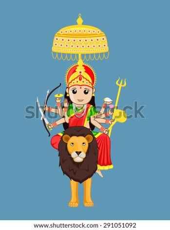 Sherawali Mata - Indian Goddess - stock vector