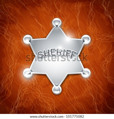 sheriff's metallic badge as star on leather texture vector illustration on background EPS10. Transparent objects and opacity masks used for shadows and lights drawing - stock vector