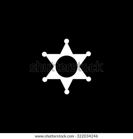 Sheriff star. Simple flat icon. Black and white. Vector illustration - stock vector