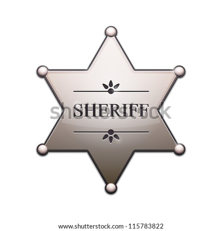 Sheriff Star with shadow isolated on white. Vector Illustration - stock vector