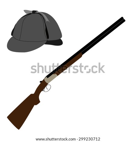 Sherlock homes hat or detective hat and hunting rifle vector illustration. Old classic rifle and deerstalker hat - stock vector