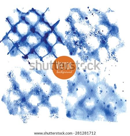 Shibori indigo dyed watercolor backgrounds in vector - stock vector