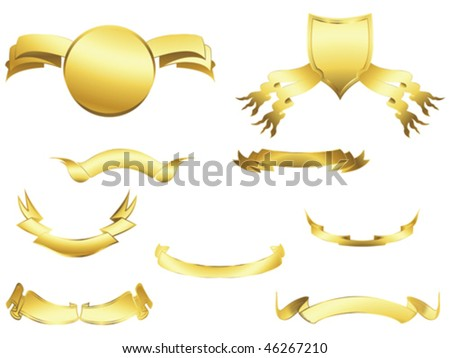 Shield and banner design elements over white background