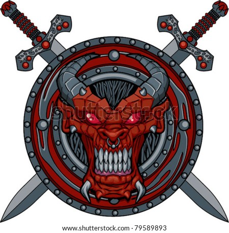 Shield and Swords - Demon - stock vector