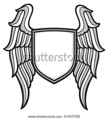 shield and wings - stock vector