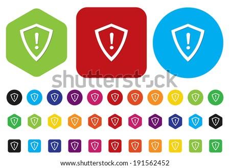 shield button - stock vector