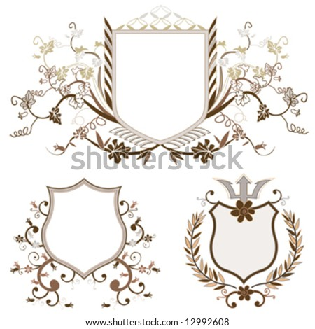 shield design set with various shapes and decoration - stock vector