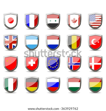 shield for protection and defense. Shield as a symbol of strength and courage. flags of the world - stock vector