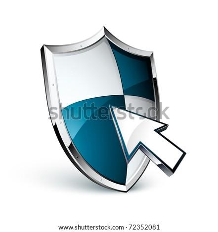 shield icon and cursor - stock vector
