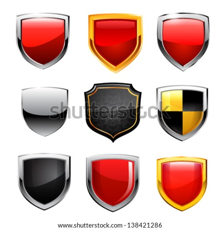 Shield icon set. Vector - stock vector