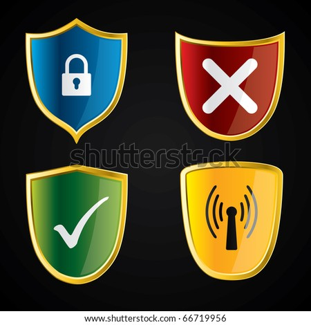 Shield icons for security - stock vector
