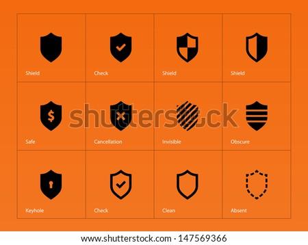 Shield icons on orange background. Vector illustration. - stock vector