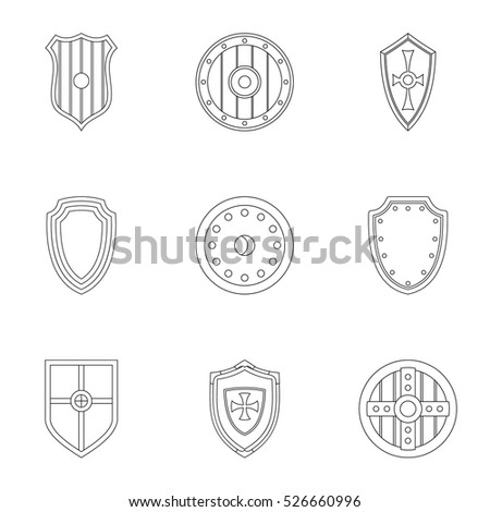 Shield icons set. Outline illustration of 9 shield vector icons for web