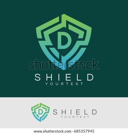shield initial Letter D Logo design