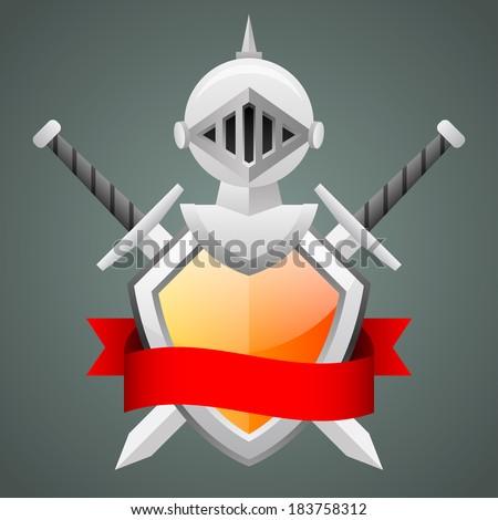Shield medieval knight helmet crossed swords - stock vector