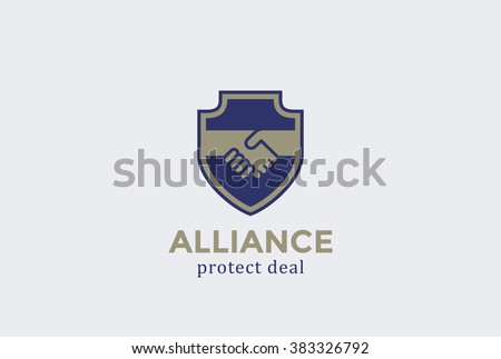 Shield Protect Deal Handshake Logo design vector template. Defend Contract symbol. Law, Lawyer, Alliance, Union Logotype concept icon. - stock vector