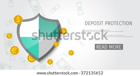 Shield protection illustration - Money savings - Deposit - Insurance - stock vector