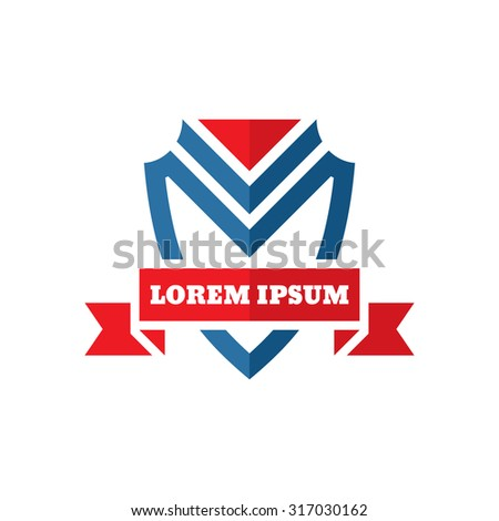 Shield protection - vector logo template illustration - concept sign. Red ribbon. Design element.  - stock vector