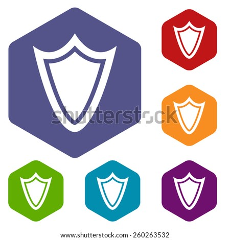 Shield rhombus icons set in different colors. Vector Illustration
