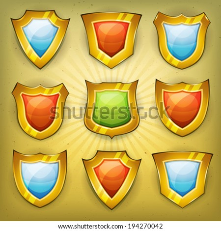 Shield Security Icons - stock vector