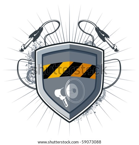 Shield security with megaphone and socket jack for music device. - stock vector
