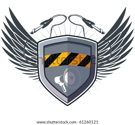 Shield security with wings and megaphone plus socket jack for music device. Only for your artwork. - stock vector