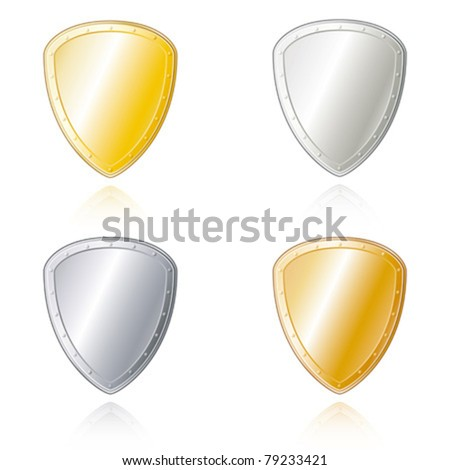 Shield shaped metal badges in gold, silver, bronze and steel look. - stock vector