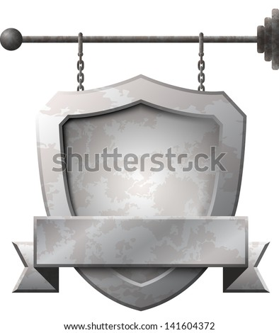 Shield shaped rusty metal signboard on the chains - stock vector