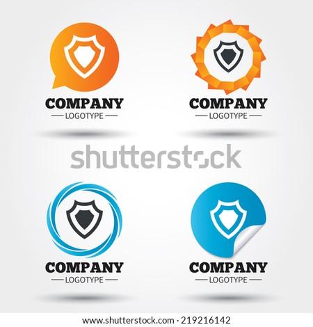 Shield sign icon. Protection symbol. Business abstract circle logos. Icon in speech bubble, wreath. Vector - stock vector