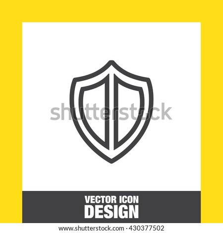 Shield sign line vector icon. Protection symbol vector icon. Royal defense symbol.