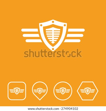 Shield & Wings Icon on Flat UI Colors with Different Shapes. Eps-10. - stock vector